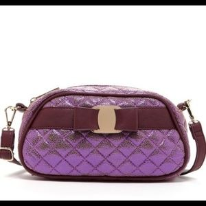 Metallic Plum Quilted Crossbody Bag Purse!